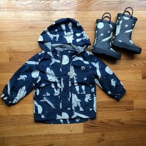 Carters Spaceship Raincoat with Matching Rainboots